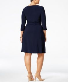Ny Collection Petite Plus Size Surplice Dress - Blue 1XP
