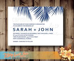 In Palm leaf green Printable Palm tree Frond Wedding Invitation Set by KittyLovesLou