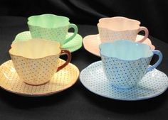 Shelley Dainty PINK BLUE ORANGE GREEN simplyTclub Tea cup and saucer   1650.00