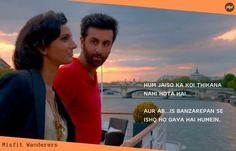 The YJHD dialogues have greatly portrayed the idea of living oneself's dream, taking chances, traveling, and love. Love Song Quotes, Bio Quotes, Cute Couple Quotes, Pretty Quotes, Motivational Quotes For Life, Movie Quotes, Hindi Quotes, Famous Movie Dialogues, Yjhd Quotes