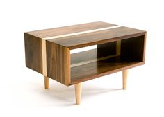 Bucks Side Table - Modern Walnut and Maple Table by wrenandcooper on Etsy https://www.etsy.com/listing/91897888/bucks-side-table-modern-walnut-and-maple