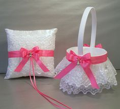 Hot Pink Wedding Bridal Flower Girl Basket and Ring Bearer Pillow Set on Ivory or White Double Loop Bow, Hearts Charm, & Rhinestone Bead on Etsy, $40.00