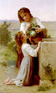 At the Fountain (A la Fontaine) - William Adolphe Bouguereau - Oil painting reproductions - Hand painted oil paintings on canvas William Adolphe Bouguereau, Art Prints, Art Painting, Art Photography, Fine Art, Painting Prints, Art, Canvas Art, Oil Painting Reproductions