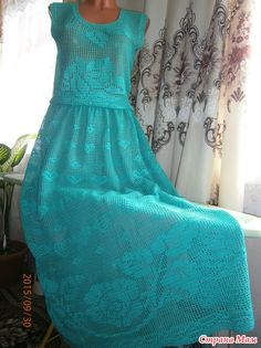 "Sirloin sarafan ""Turquoise mood"" in the floor (she thought of it, she tied it herself) Crochet Skirts, Crochet Blouse, Crochet Clothes, Crochet Top, Filet Crochet, Day Dresses, Needlework, Free Pattern, Crochet Patterns"