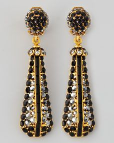 Black Pave Crystal Gold-Plate Drop Earrings
