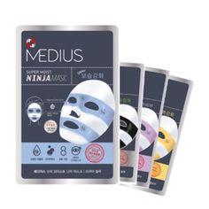 Medius Super Moist Ninja Facial Mask Sheet Pack Skin Care x 4 type Ninja Mask, Skin Nutrition, Cosmetic Design, Anti Aging Treatments, Cosmetic Packaging, Facial Masks, Hyaluronic Acid, Anti Aging Skin Care, Packaging Design