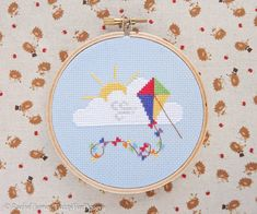 This is a Rainbow Kite Counted Cross Stitch PATTERN only - no fabric or floss is included in this pu Modern Cross Stitch Patterns, Counted Cross Stitch Patterns, Cross Stitch Designs, Cross Stitch Tree, Mini Cross Stitch, Bicycle String Art, Pdf Patterns, Cross Stitching, Just In Case