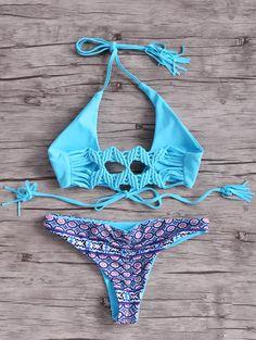 Aqua Blue Macrame Back Bikini Set #Aqua #Blue #Bikini #Fashion