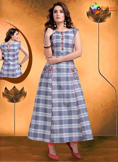 Precise splendor can come out from your dressing style and design with this Exquisite Applique Gray Color Flax Cotton Party Wear Ready Made Kurtis For Girl Kurta Designs Women, Salwar Designs, Latest Kurti Designs, Frock Fashion, Fashion Dresses, Girl Fashion, Kalamkari Dresses, Fancy Kurti, Kurta Neck Design