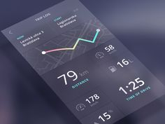 Trip detail - next screen from Speedometer app  Check the full case study about the project on Behance  Behance Twitter