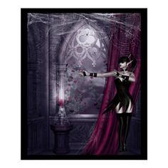 creepy teenage bedrooms for girls | Gothic fantasy girl in spooky room posters