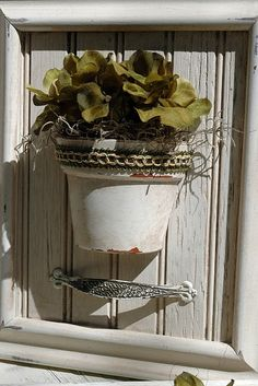old frame, beadboard, terra cotta pot, vintage drawer pull