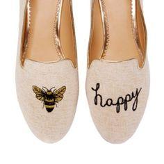 Bee Happy Smoking Slipper | Ballets & Flats | Shoes | Categories | C. Wonder slippers, bees, happi smoke, style, bee happi, smoking, ballet flats, flat shoes, smoke slipper