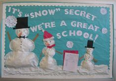 winter bulletin board Its snow secret we love pre-k Christmas Bulletin Boards, Preschool Bulletin Boards, Classroom Bulletin Boards, Bullentin Boards, Classroom Door, Classroom Ideas, Winter Bulletin Boards For School Hallways, Leadership Bulletin Boards, Classroom Design