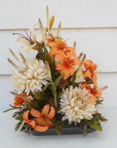 Silk Flower Arrangement, Floral Table Decor