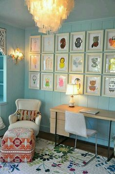 Kid's art displayed in awesome room!