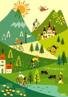 自転車レース Art And Illustration, Illustrations And Posters, Kids Background, Design Poster, Cycling Art, Naive Art, Pictures To Paint, Cute Art, Art Drawings
