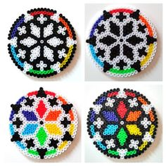 Rainbow Kaleidoscope Pixel Bead Coaster - Choose your favourite or set of 4 - Flat Perler Hama Bead Colourful Pride Floral Decoration Easy Perler Bead Patterns, Melty Bead Patterns, Perler Bead Templates, Diy Perler Beads, Perler Bead Art, Beading Patterns, Hama Beads Coasters, Pixel Beads, Fuse Beads