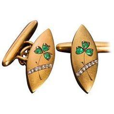 Art Nouveau Emerald Diamond Gold Cufflinks 5