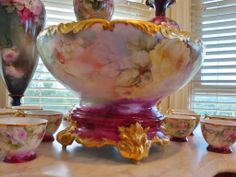 Outstanding One Of The Very Best Antique Limoges France Punch Bowl with Base 12 Cups all Hand Painted Roses and Blackberries ca. 1891 ~Gorgeous~