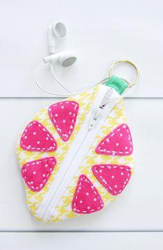 Cute DIY Citrus Earbud Zipper Pouch