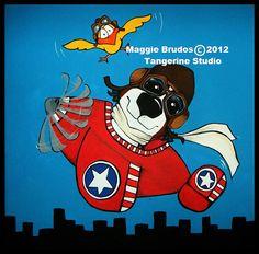 airplane high flying art Whimsical dog ART by tangerinestudio, $85.00