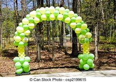 Resultado de imagen para arco de globos verdes y amarillos