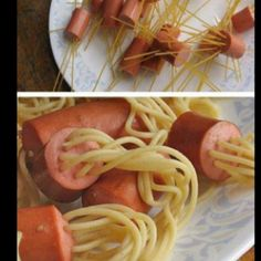 Cómo hacer unos espaguetis con salchichas muy curiosos translation: hot dogs and spaghetti boiled. All it needs is Skyline Chili and cheese! Cute Food, Good Food, Yummy Food, Tasty, Yummy Recipes, Dinner Recipes, Kid Recipes, Awesome Food, Recipies