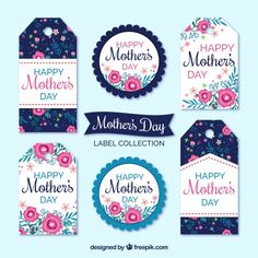 Pack of mother's day labels with colored flowers Free Vector Mothers Day Quotes, Mothers Day Crafts, Happy Mom, Happy Mothers Day, Mother's Day Background, Mother's Day Printables, Graphic Design Templates, Mom Day, Love You Mom