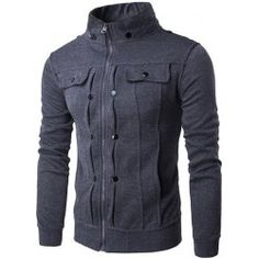 SHARE & Get it FREE | Stand Collar Buttoned Pleated Zip Up JacketFor Fashion Lovers only:80,000+ Items • FREE SHIPPING Join Twinkledeals: Get YOUR $50 NOW!