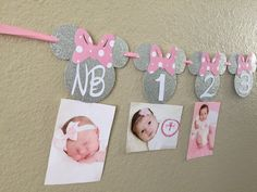 Minnie Mouse 12 month photo banner, Photo banner, Pink and Silver Minnie Mouse Party, Minnie Mouse Birthday, Minnie Mouse Banner #babyshowerideas4u #birthdayparty  #babyshowerdecorations  #bridalshower  #bridalshowerideas #babyshowergames #bridalshowergame  #bridalshowerfavors  #bridalshowercakes  #babyshowerfavors  #babyshowercakes