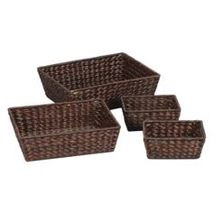 Amazon.com: Household Essentials Banana Leaf 4-Piece Basket Set, Dark Brown Stain: Home & Kitchen  $37