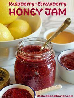 Raspberry Strawberry Honey Jam ~ Easy and tasty homemade paleo refrigerator jam made with honey or agave.