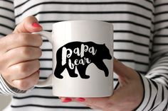 Papa Bear is here.  Mugs are all about the fun factor. This mug is a great way to add some fun and quirkiness to an everyday coffee drinking routine :) This mug has our awesome 2-sided design so you can add a bit of variety to your mug life.  Details: Size: 11 oz or 15 oz Material: White Ceramic 2 sided- as shown  Best part? Microwave and dishwasher (top rack suggested) safe!  Please allow 3-5 business days for production :)…