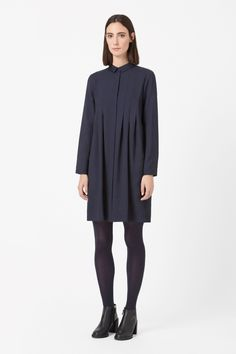 COS image 11 of Pleated shirt dress in Blue Dark