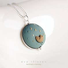 Rainy day. Modern whimsical hand made polymer clay necklace. - #evathissen #polymerclay #pendant