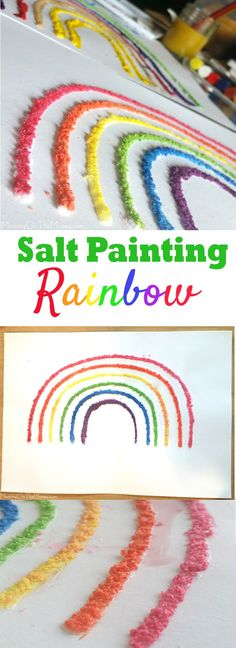 We came up with this salt painting craft rainbow for St. Patrick's Day but it is fun for kids to do any time of the year!