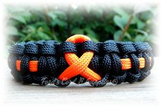 Orange Awareness Ribbon Paracord Bracelet by FordsCordandSupplies