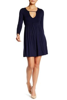 Vanity Room Long Sleeve Knit Babydoll Dress (Petite)