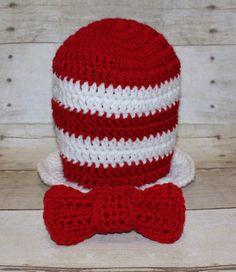 Crochet Cat in The Hat Set - Baby Crochet Hat - Crochet Dr. Seuss Top Hat and Adjustable Tie Set