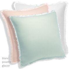 The Originel Decorative Pillow by Yves Delorme is the ideal accompanyment to the Originel Collection's colors, poudre (pink) and glacier (aqua). This stonewashed linen decorative pillow is accented with piping and an eyelash fringe.