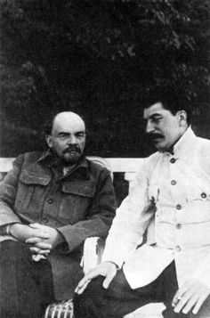 Joseph Stalin and Vladimir Lenin in Gorki by  Unknown Photographer. Hitler's death count wasn't even close to these guys, so where are all the movies? History is as pliable as the future.