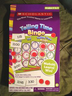 "Scholastic:""TELLING TIME BINGO"" Where they MATCH! LEARN! WIN! (Gr: K-2) 4 Player  Starting Bid @ Only $4.99....."