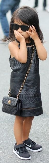 Leather dress. Baby chanel purse and nikes