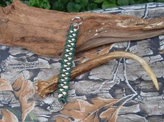Paracord Lanyard Keychain  Gold and Green Shark by ACORDING2MACEY