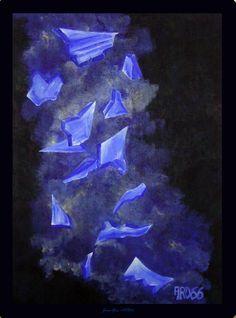 """Chute de verres"" Acrylique sur isorel, 62 x 47 par Jean-Yves ARO66"
