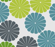 green and blue flowers fabric by susieswe on Spoonflower - custom fabric