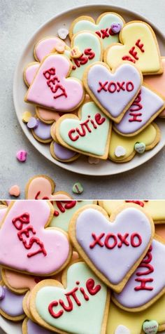 Soft sugar cookies decorated for Valentine's Day dessert! These conversation hea. - Soft sugar cookies decorated for Valentine's Day dessert! These conversation heart cookies are co - Valentine Desserts, Valentines Day Cookies, Valentines Baking, Köstliche Desserts, Holiday Cookies, Birthday Cookies, Summer Cookies, Kids Valentines, Valentine Sugar Cookies Recipe