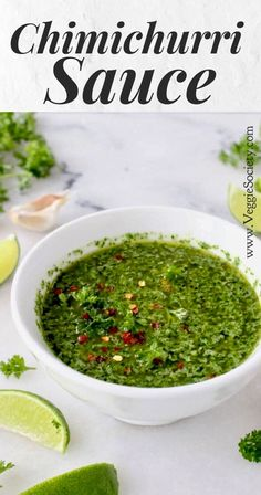 A savory garlic, parsley and oregano sauce originally from Argentina used as a condiment for our favorite dishes. The authentic recipe and the cilantro variation included #plantbased #sauce #vegan #chimichurri #easyrecipe