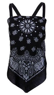 nice Bandana Top - Long Paisley Black | Girls Gone Biker